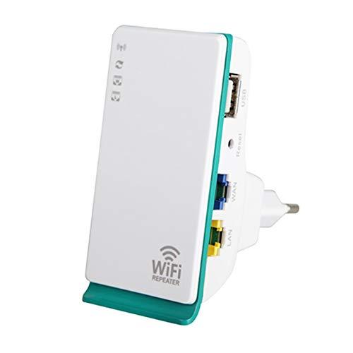 300Mbps 2.4 GHz WiFi Repeater 2 Puertos Wireless-N Router Amplificador de señal Amplificador de bolsillo Mini Amplificador para viajes a domicilio, blanco