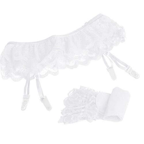 MERICAL Damen Lace Top Oberschenkel Strümpfe Socken + Strumpfhalter Strumpfband(Regulär,Weiß)