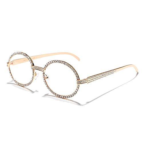 Montature per occhiali ovali con diamanti di moda Uomo Donna Occhiali da sole con strass vintage di marca di lusso Punk Tutti i bicchieri di cristallo 1Oro
