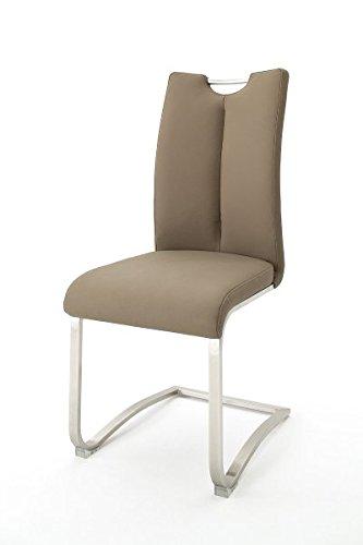 2er Set Freischwinger, Stühle, Schwingstuhl, Schwinger, Küchenstuhl, Sitzgelegenheiten, Besucherstuhl, Wartezimmerstuhl Kunstleder cappuccino #ARTOS