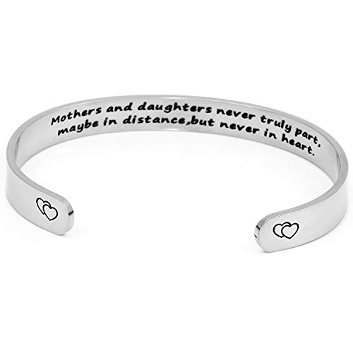 DTWAWA Quote Engraved Cuff Bracelet,Mothers and Daughters Never Truly Part, Stainless Steel Bracelets, for Mother Daughter, Mother's Day, Mom, Daughters On Birthday