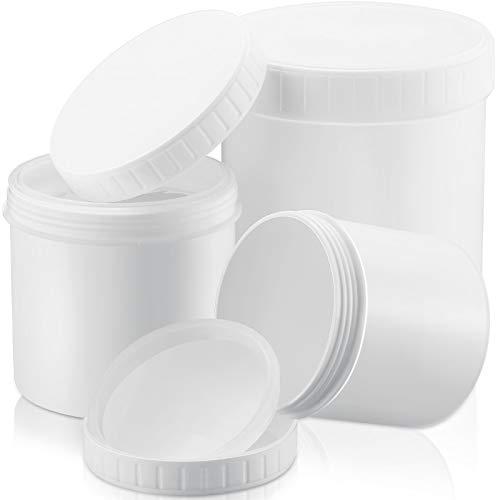 3 Tamaños Recipientes Blancos Plásticos de Polietileno (HDPE/ LDPE) de Alta Densidad de Boca Ancha de 33 Oz/ 17 Oz/ 10 Oz con Tapa Presurizada de Rosca Tarros de Almacenamiento Tarrinas de Helado