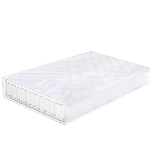 King/Queen Bolsa de colchón para moverse, 188 x 218 cm, plástico transparente para desechar colchón, funda de almacenamiento para colchones, impermeable, chinches, suciedad