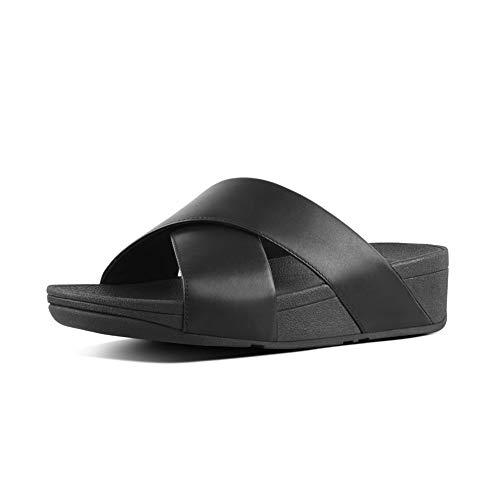 Fitflop Lulu Cross Slide-Leather, Sandalias de Punta Descubierta Mujer