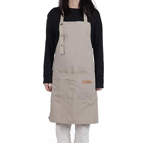 Ropa de trabajo de material de algodón de alta calidad, delantal duradero, para sostener la toalla y sostener el teléfono móvil(gray)