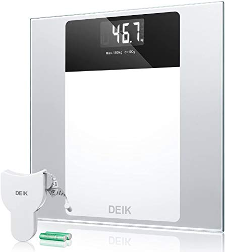 Deik Bascula Baño, Báscula Baño Digital con Pantalla LCD Retroiluminada, Alta Precisión, Gran Plataforma, 180 Kilogramm, Incluida Herramienta de Medida y 2 Baterías AAA, Transparente (blanco)