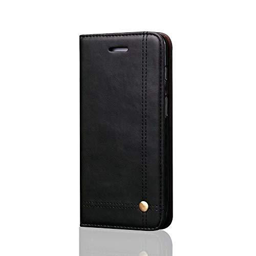 Aralinda Funda para OnePlus 6, estilo retro de negocios con tapa tipo cartera de piel sintética magnética con ranuras para tarjetas, soporte compatible con OnePlus 6. (color: negro)