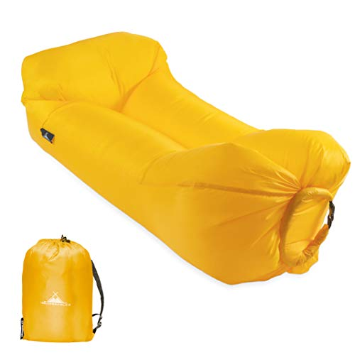 WANDERFALKE Luftsofa aufblasbares Sofa Air Lounger Lazy Bag Luftsack für Outdoor, Camping, Strand, Beach (Dottergelb)