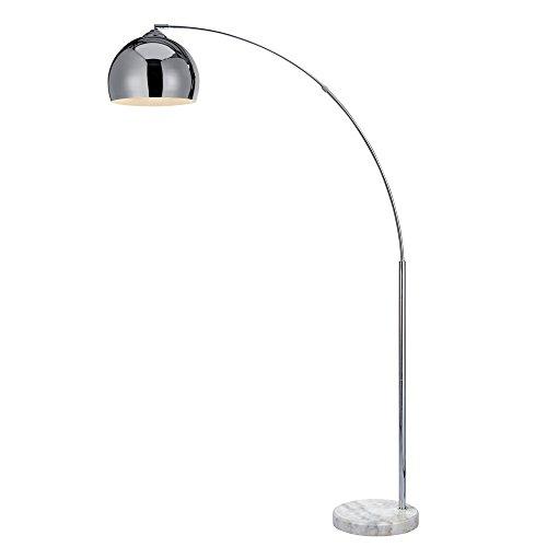 Versanora Arquer Lámpara de Piso Arco con Sombra y Base de Mármol, 50 W, Cobre y Blanco, 31x110x174cm