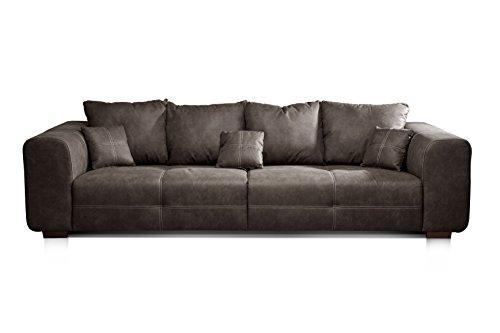 CAVADORE Big Sofa Mavericco / Big Couch im modernen Design in Lederoptik / Inklusive Rückenkissen und Zierkissen / 287 x 69 x 108 cm (BxHxT) / Mikrofaser...