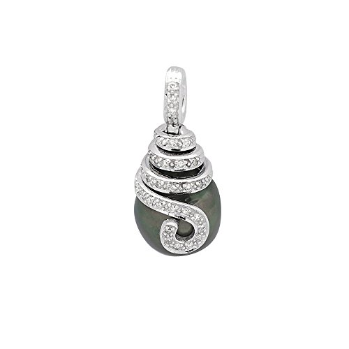Colgante Perla de Tahiti, Diamantes y Oro Blanco 750/1000 - BPS K280 W - Blue Pearls