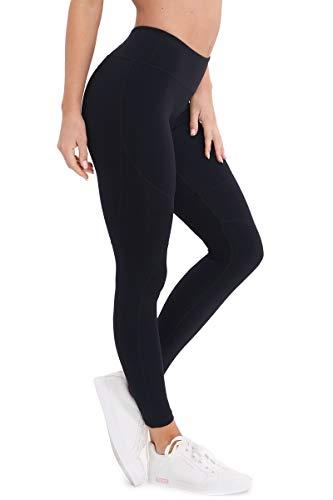 YAWHO Damen Leggings Yogahosen Sporthose Jogginghose Fitnesshose Laufhose Lang Tights High Waist mit Taschen Dehnbar Yoga Sport Fitness Laufen (Black 18601, XL)