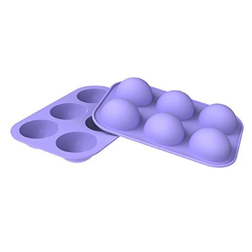 6er Silikon Backform/Muffinform für Muffins, Brownies, Cupcakes, Kuchen, Pudding, Eiswürfel und Gelee - Halbe Kugel (2)