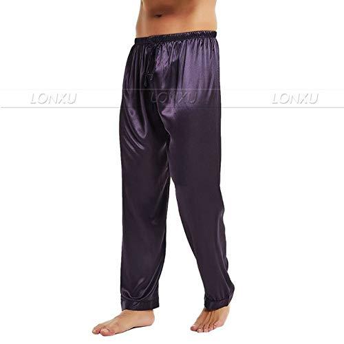 Handaxian Herren Seidensatin Pyjama Sweat Pants Schlafanzughose Lila S