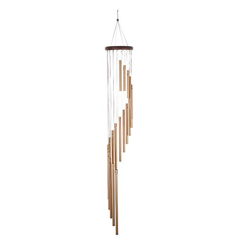 tianxiangjjeu Wind Chimes Aluminum 18-Tube Sweet Sound Crafts Garden Outdoor Window Balcony Home Ornament Hanging Decor Golden