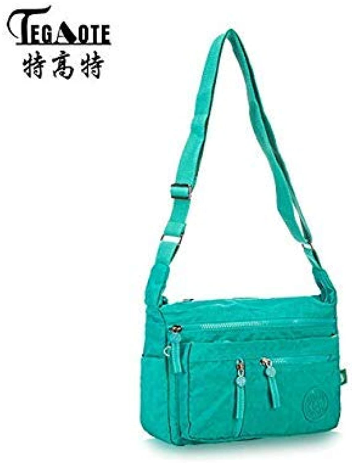 Bloomerang TEGAOTE Luxury Women Messenger Bag Nylon Shoulder Bag Ladies Bolsa Feminina Waterproof Travel Bag Women's Crossbody Bag color Green Size 24CMX10CMX29CM 932