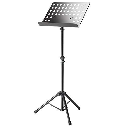 ah Stands SMS17 Notenpult professioneller Notenständer standfester Orchesternotenständer für Keyboard, Piano, Schlagzeug & Gitarre, schwarz