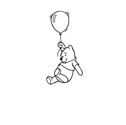 Muurstickers Winnie The Pooh Bears met ballonnen 57x27cm Vinyl muurstickers, muurschilderingen, affiches, Home Wallpapers Slaapkamer Woonkamer Home Decor