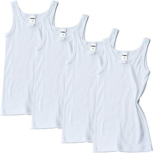 HERMKO 2800 4er Pack Jungen Unterhemd (Weitere Farben) Bio-Baumwolle, Farbe:weiß, Größe:92