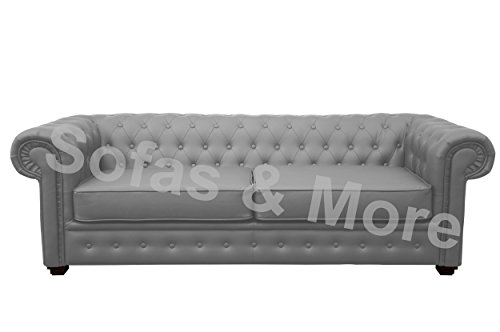 Chesterfield Style Venus Sofa Bed 3 Seater 2 Seater Black Cream Brown Red Faux Leather (3 Seater, Grey)