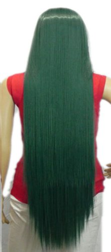 Qiyun Extra Longue Femme Raide F¨ºte Costumee Halloween Costume Anime Synthetique Cheveux Complete Perruque - Fonce Vert