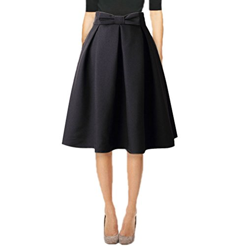 Hanlolo Womens Black Skirts Solid Color Vintage Knee Length Pleated Office Skirts 14