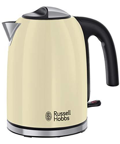 Russell Hobbs Colours Plus Hervidor de Agua Eléctrico - 2400 W, 1 litro, Acero Inoxidable, Hervidor Pequeño, Filtro Extraíble, Crema - 20415-70