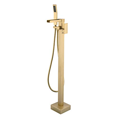 Freestanding Bathtub Faucet Tub Filler Waterfall Single Handle Floor Mounted Faucets with Handheld Shower Brass in Brushed Gold FS01G