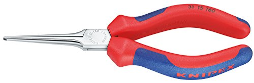 KNIPEX 31 15 160 Greifzange (Nadelzange) verchromt mit Mehrkomponenten-Hüllen 160 mm
