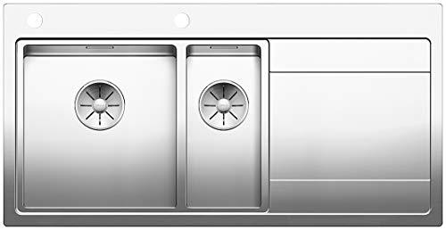BLANCO DIVON II 6 S-IF, Küchenspüle für normalen und flächenbündigen Einbau, Einbauspüle, Becken links, mit InFino-Ablaufsystem und Ablauffernbedienung, Edelstahl Seidenglanz; 521661