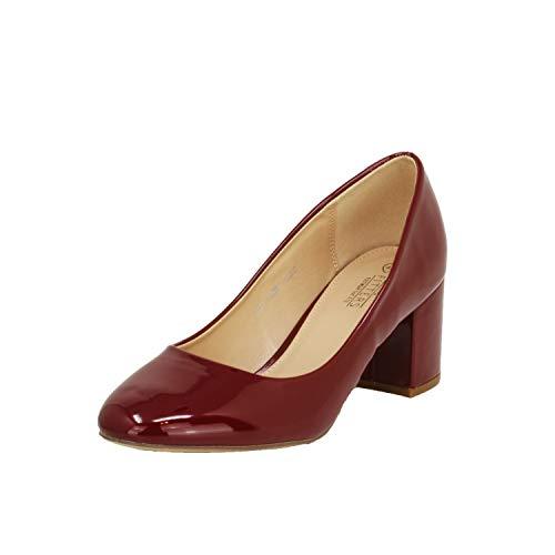 Fitters Footwear That Fits Damen Pump Sesy Lack Pumps mit Blockabsatz Übergröße (43 EU, Burgundy)