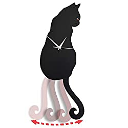 Black Cat Pendulum Wall Clock, Cat Clock, Cat Clock with Moving Tail, Black Cat Swinging, Whimsical Funny Wall Clocks, Living Room Office Café Bedroom, Gift for Black Cat Lovers