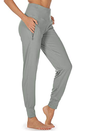 icyzone Workout Joggers Pants for Women - High Waisted Exercise Athletic Running Leggings with Pockets (Small, Gray)
