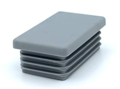 10 Piezas de tapas rectangulares de plástico para tuberías, tamaños elegible de 20x10mm a 180x60mm, tapón/ contera/ protector/ funda (medida exterior: 80x40mm, espesor de pared: 1,5-2mm, Gris)