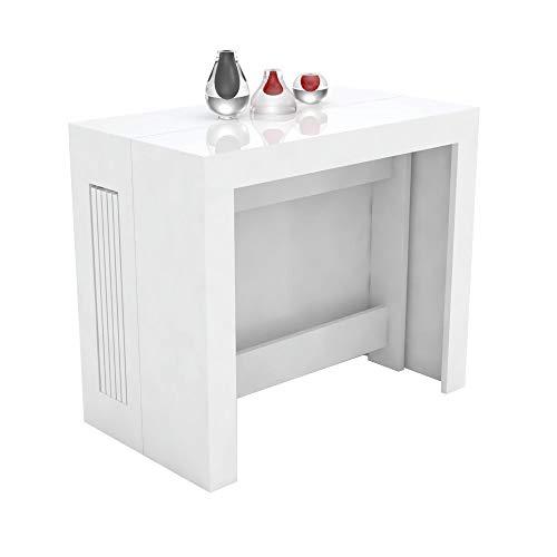 VE.CA.s.r.l. Tavolo consolle allungabile Karen con Porta allunghe in Legno - allungabile da 51,5 cm 300 cm, in 5 colorazioni - arredo Cucina casa Design (Bianco Lucido)