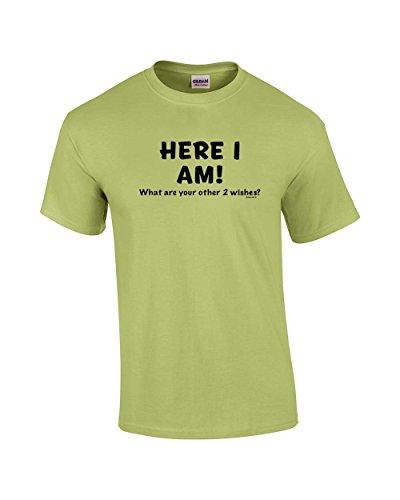 Camiseta engraçada Here I Am What are Your Other Two Wishes preta, Pistachio, XX-Large