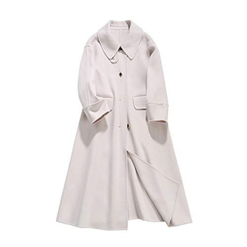 SANJIBAO Retro Schnalle Wollmantel Damen Winter Damenbekleidung Anzug Kragen 25-29 Jahre alt dünne Lange Mantel-Jacke Parker Mantel Big Pendulum British Style (XS-M),3,XS