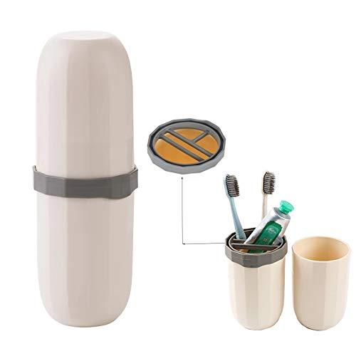 Contenedor de pasta de dientes de viaje, 3 en 1, estuche de viaje para pasta de dientes, de plástico duro, para viajes, negocios, hogar, camping, suministros escolares