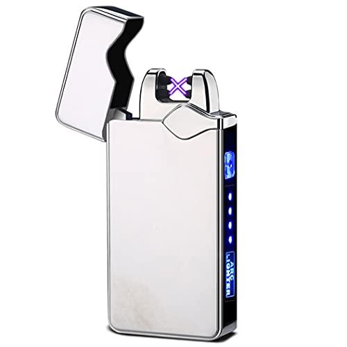 LEDパワーディスプレイ付きシガレットキャンドル用防風デュアルアークライタープラズマフレームレス充電式電気ライター