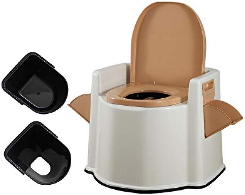 XSJZ Mobile Toilette, Doppel Barrel Abnehmbare Komfort Lendenwirbel-Toilette Für ltere ltere Frauen Bequemer Gebrauch 3 Farben (Farbe   Kamel)