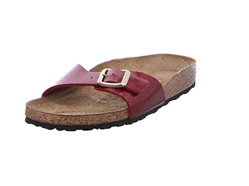 BIRKENSTOCK Damen Madrid Pantoletten, Rot (Magic Snake Bordeaux Magic Snake Bordeaux), 35 EU