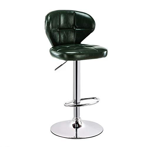 CHY Giratoria Taburetes Conjunto De 2 contra Altura De La Barra Heces Conjunto De 4 Cuero Metal Taburetes Ajustable For La Cocina Casera De Interior (Color : Green, Size : Bar stools Set of 2)