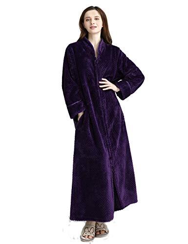 iCREAT Damen-Bademantel mit Reißverschluss vorne Premium Flanell Fleece Plüsch Kaftan Weiche Lange Robe Warmer Hausmantel, Lila-XL