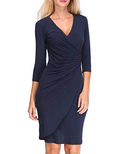 Revdelle - Robe Cache Coeur Col V Uni Made in France Manches Longues pour Femme Myriam
