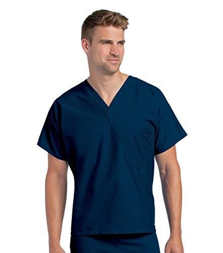 Landau Premium Uniform Reversible One Pocket V-Neck Scrub Top, Navy, Large Tall