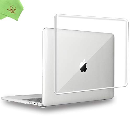 UESWILL MacBook Pro 16 inch Case 2019, Crystal Glossy Hard Shell Case Cover for MacBook Pro 16 inch with Touch Bar/USB-C, Model A2141 + Microfibre Cleaning Cloth, Transparent