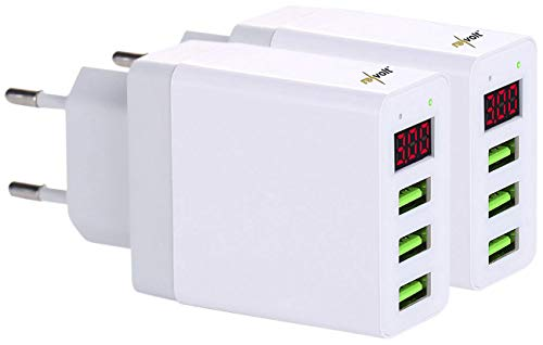 reVolt USBstecker: 2er-Set Intelligentes 3-Port-USB-Wandnetzteil mit LED-Display, 15,5 W (USB-Ladegerät 230V)