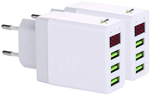 reVolt USBstecker: 2er-Set Intelligentes 3-Port-USB-Wandnetzteil mit LED-Display, 15,5 W (USB-Ladegerät 3 Port)