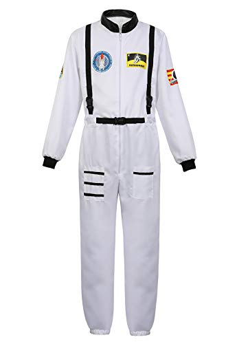 Men's Adult Astronaut Spaceman Costume Coverall Pilot Air Force Flight Jumpsuit Halloween Dress Up Party White-XL
