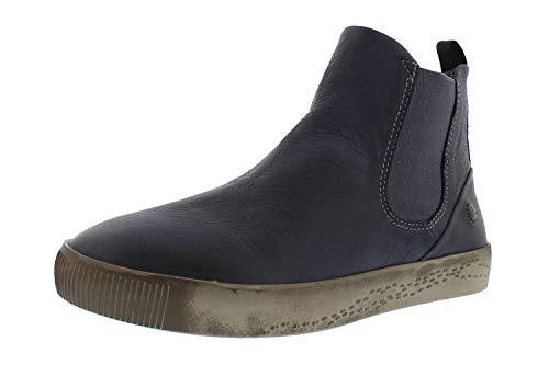 Softinos Damen Stiefeletten SAHA608SOF, Frauen Chelsea Boots,lose Einlage, Bootie Schlupfstiefel Freizeit Stiefel halbstiefel,Blau(Navy),42 EU / 8 UK